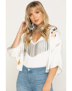 Ariat Women's Eagle Dream Kimono , Ivory, hi-res