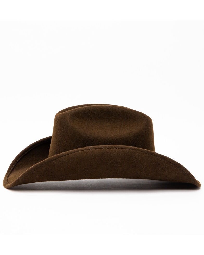 Cody James Men's Cattleman Tooled Star Concho Band Wool Hat , Brown, hi-res