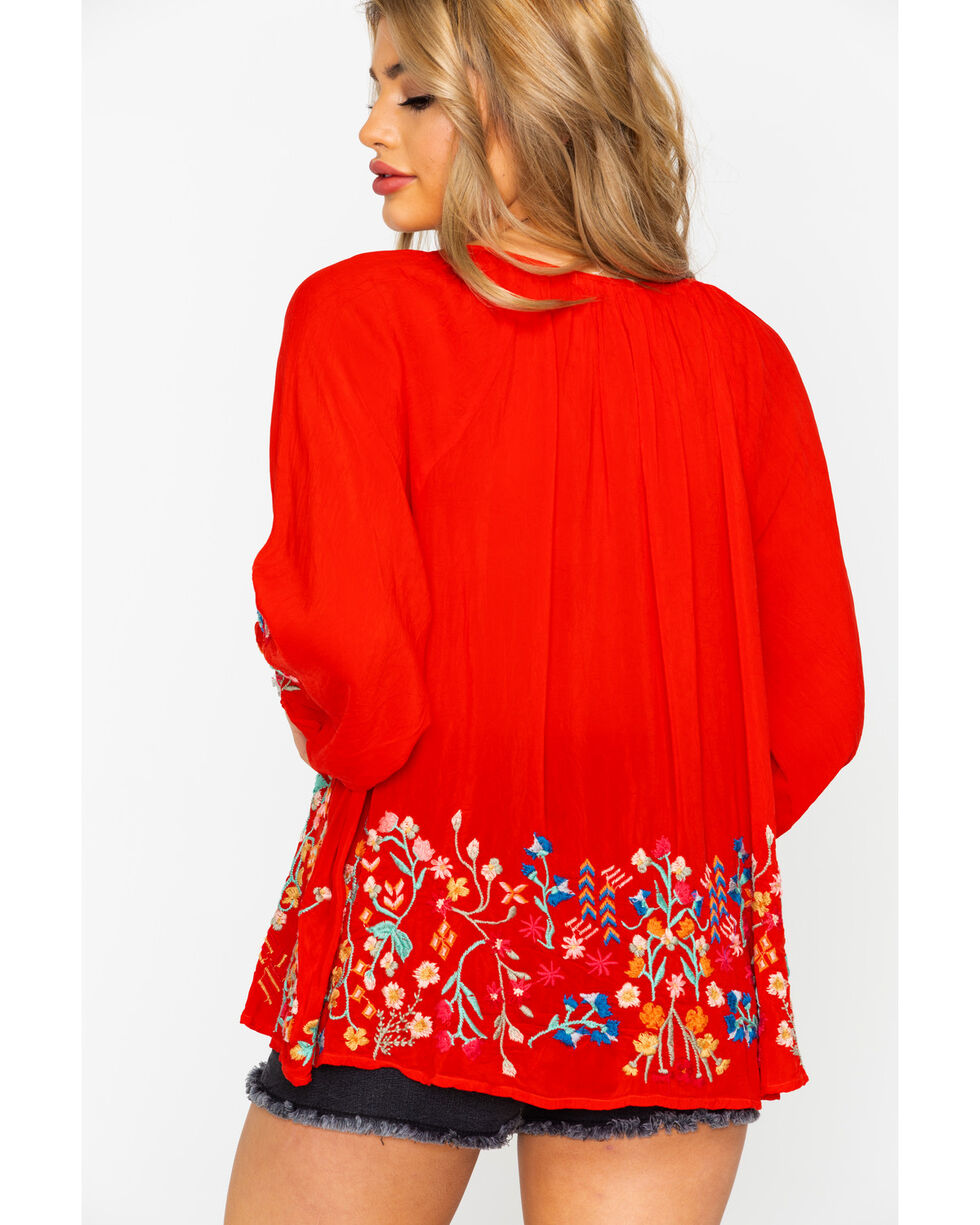 Johnny Was Women's Sarah Blouse , Red, hi-res
