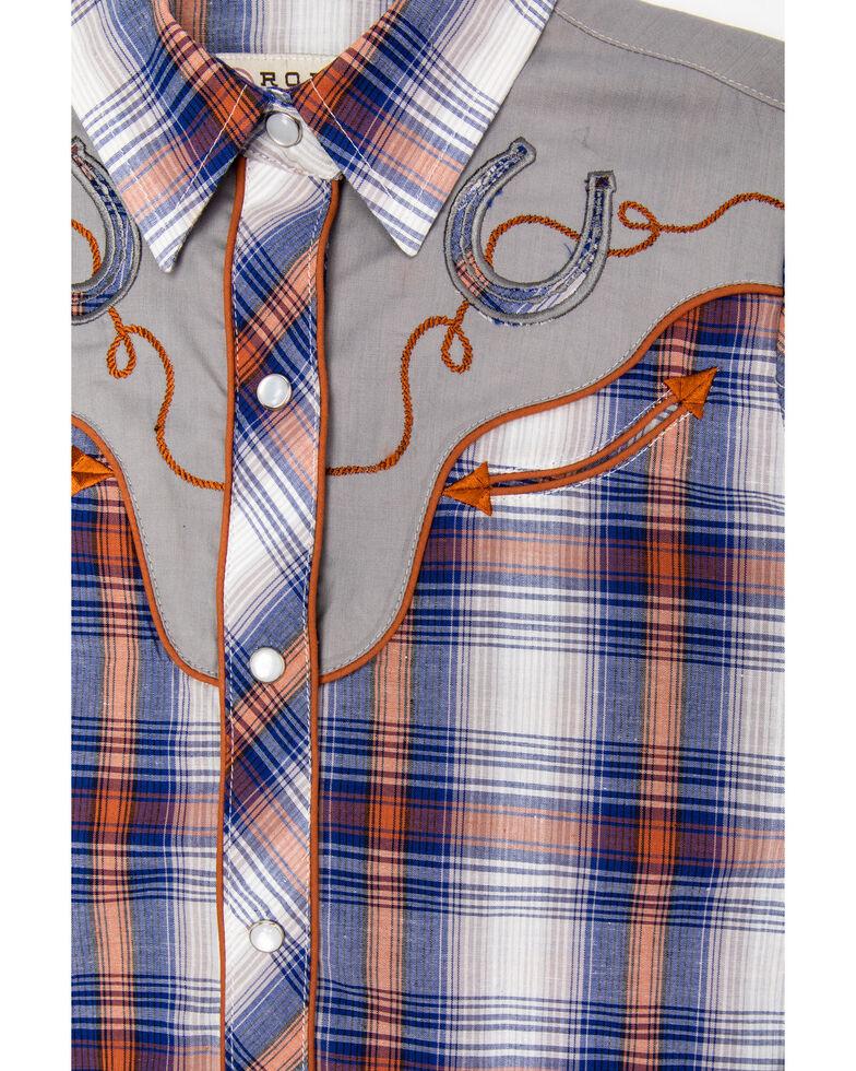Karman Girls' Blue Plaid Horseshoe Snap Long Sleeve Western Shirt , Blue, hi-res