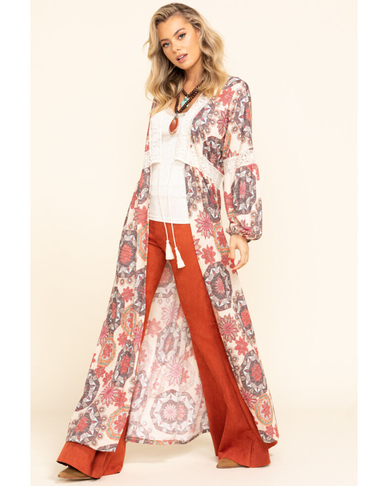 Chrysanthemum Women's Multi-Color Medallion Knit Duster, Multi, hi-res