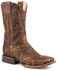 Roper Men's Zig-Zag Stitching Western Boots - Square Toe, Tan, hi-res