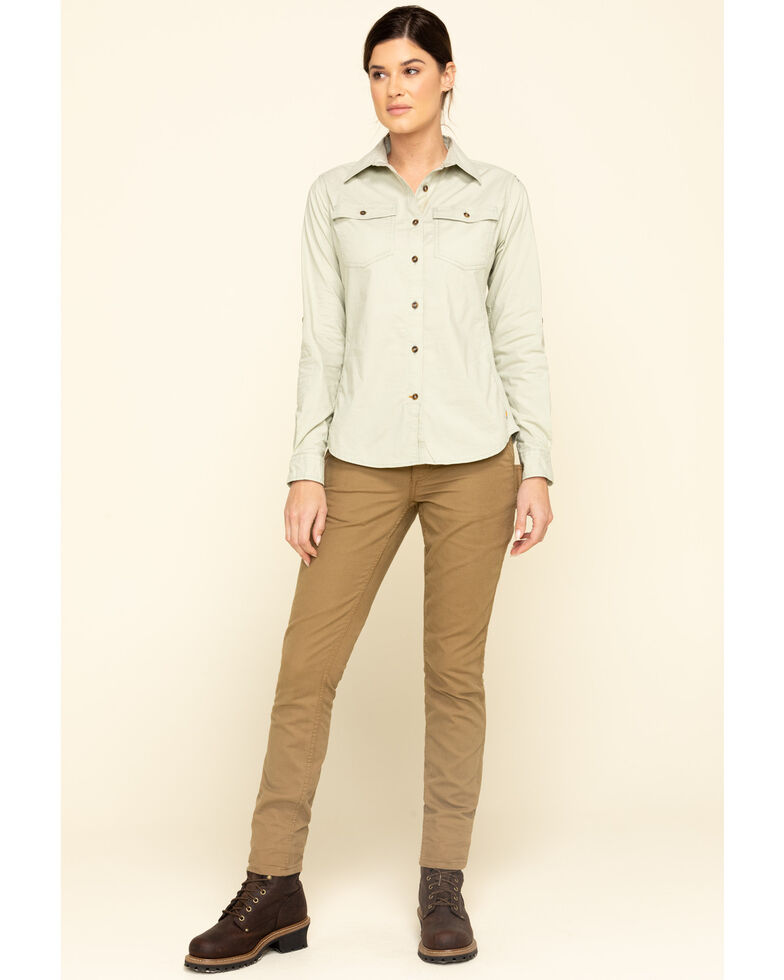 Carhartt Women's Sage Rugged Flex Bozeman Work Shirt  , Sage, hi-res