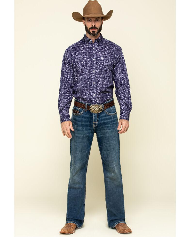 Ariat Men's Wrinkle Free Ulton Paisley Print Short Sleeve Western Shirt - Big , Navy, hi-res