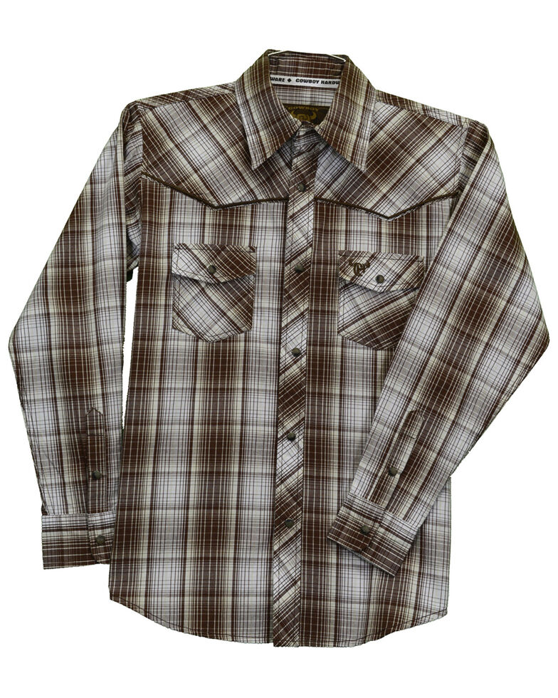 Cowboy Hardware Boys' Fellow Plaid Long Sleeve Western Shirt , Brown, hi-res