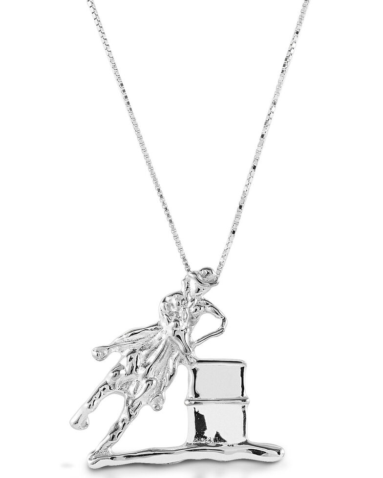 Kelly Herd Women's Large Barrel Racing Pendant Necklace, Silver, hi-res
