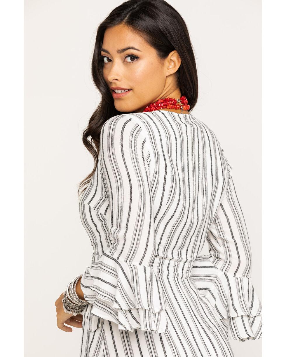 Miss Me Women's Grey Stripe Surplice Wrap Dress, Grey, hi-res