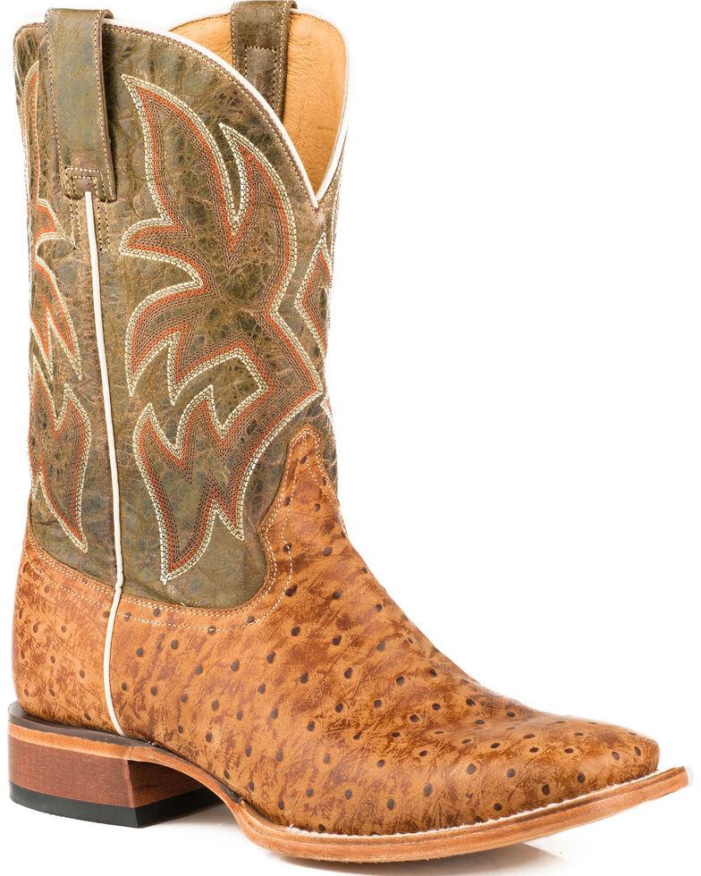 Roper Men's Stretch Embossed Ostrich Cowboy Boots - Square Toe, Tan, hi-res