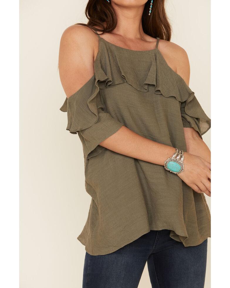 Wishlist Women's Ruffle Cold Shoulder Top , Olive, hi-res