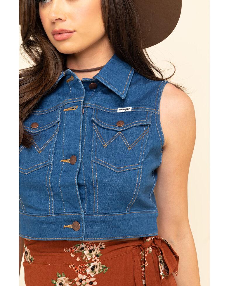 Wrangler Modern Women's Medium Wash Shrunken Vest, Blue, hi-res