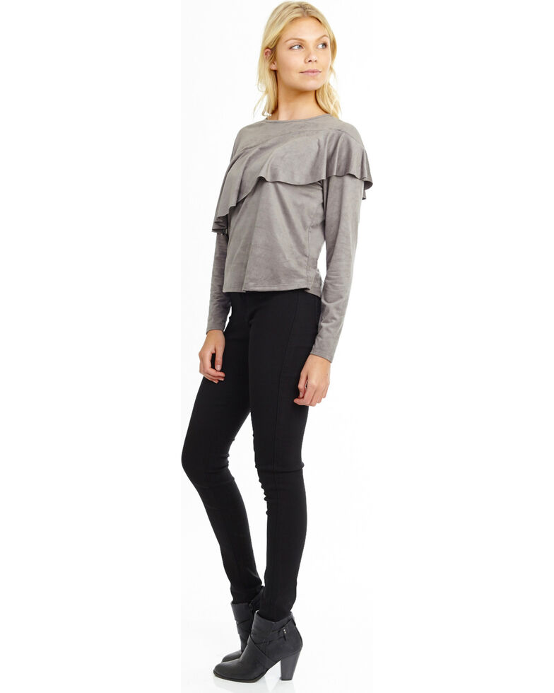 Mary & Mabel Women's Long Sleeve Suede Ruffle Top, Charcoal, hi-res