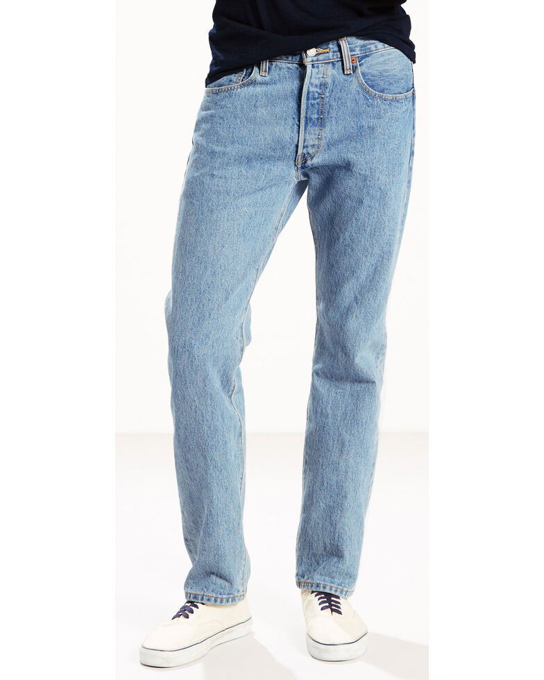 a5ed8bfa Zoomed Image Levi's Men's 501 Original Fit Stonewashed Jeans, Blue, hi-res