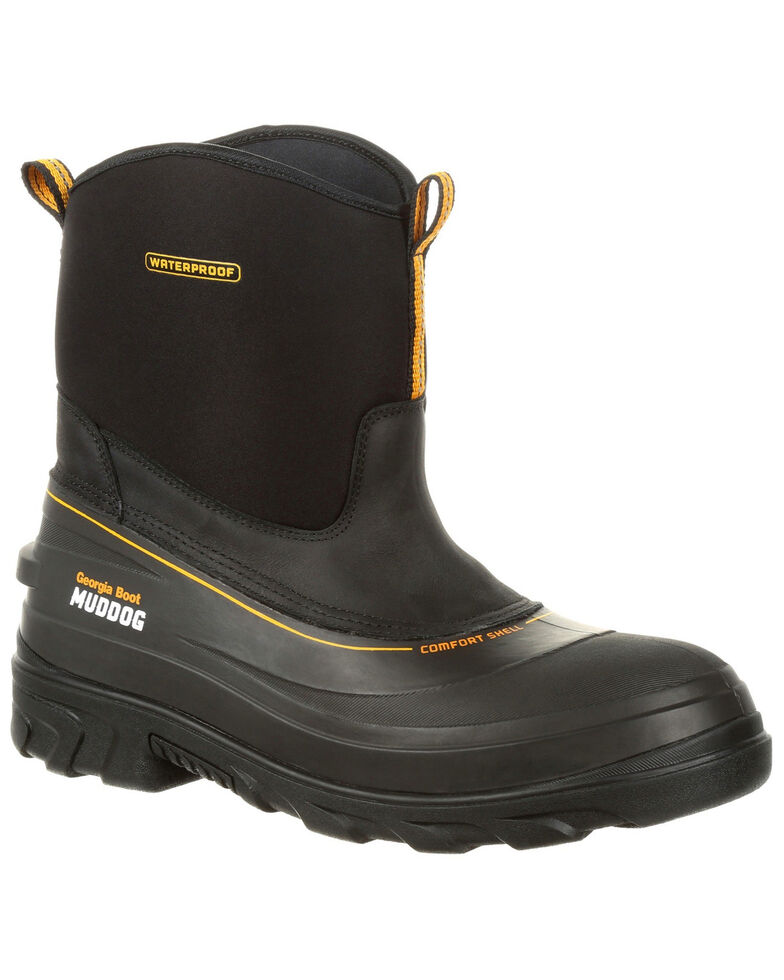 Georgia Boot Men's Muddog Waterproof Work Boots - Round Toe, Black, hi-res