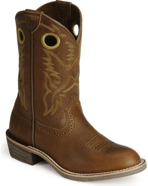 Ariat Childrens' Roughstock Cowboy Boots - Round Toe, Brown, hi-res