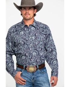 Cinch Men's Multi Modern Paisley Print Long Sleeve Western Shirt , Purple, hi-res