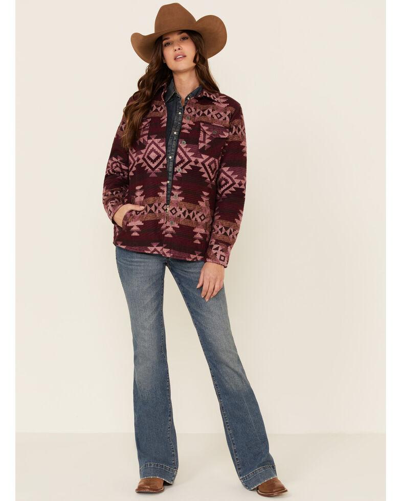 Ariat Women's R.E.A.L. Wineberry Snap Aztec Shirt Jacket , Wine, hi-res
