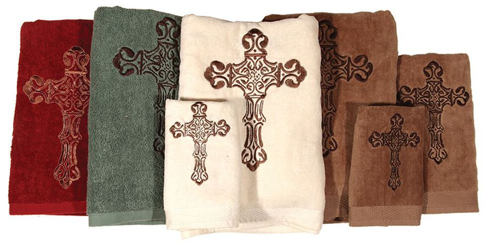HiEnd Accents Three-Piece Embroidered Cross Bath Towel Set - Cream, Natural, hi-res