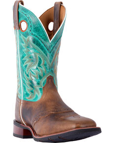 Laredo Men's Ward Tan Turquoise Cowboy Boots - Square Toe, Tan, hi-res