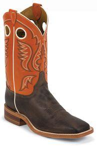 Justin Men's Burnished Orange Cowboy Boots - Square Toe, Chocolate, hi-res