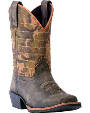 Dan Post Boys' Foxtrot Camo Cowboy Boots - Square Toe, Dark Brown, hi-res