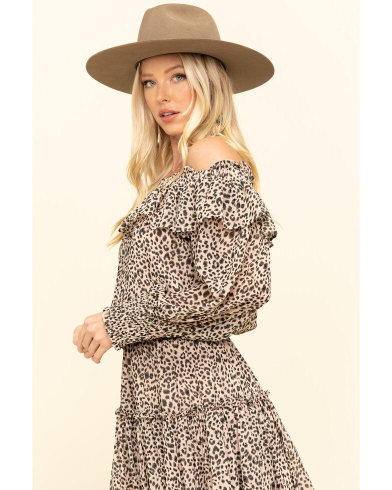 By Together Women's Leopard Off The Shoulder Dress, Taupe, hi-res