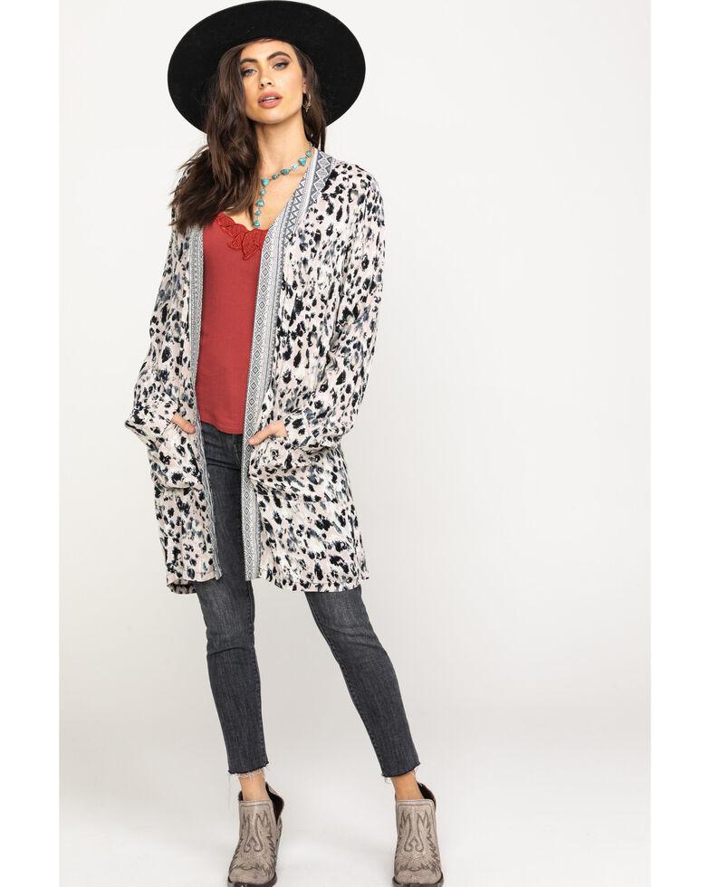 Mystree Women's Blush Leopard Print Kimono, Leopard, hi-res