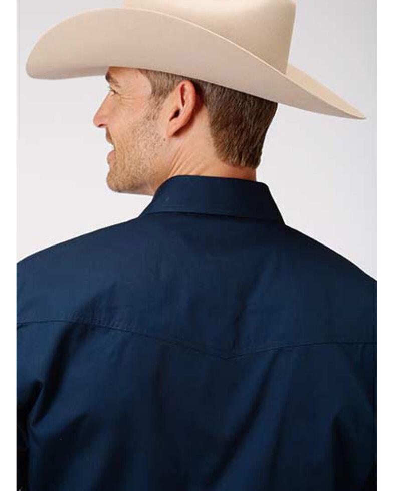 Amarillo Men's Navy Solid Poplin Long Sleeve Western Shirt , Blue, hi-res