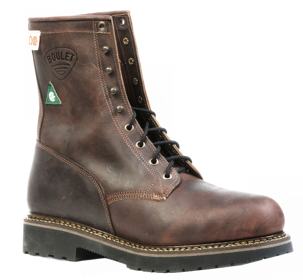 Boulet Laid Back Copper Lace-Up Work Boots - Steel Toe, Copper, hi-res