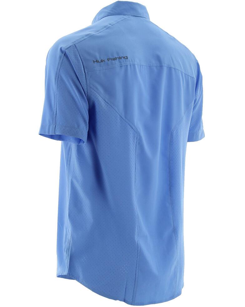Huk Performance Fishing Men's Next Level Woven Short Sleeve Shirt , Blue, hi-res