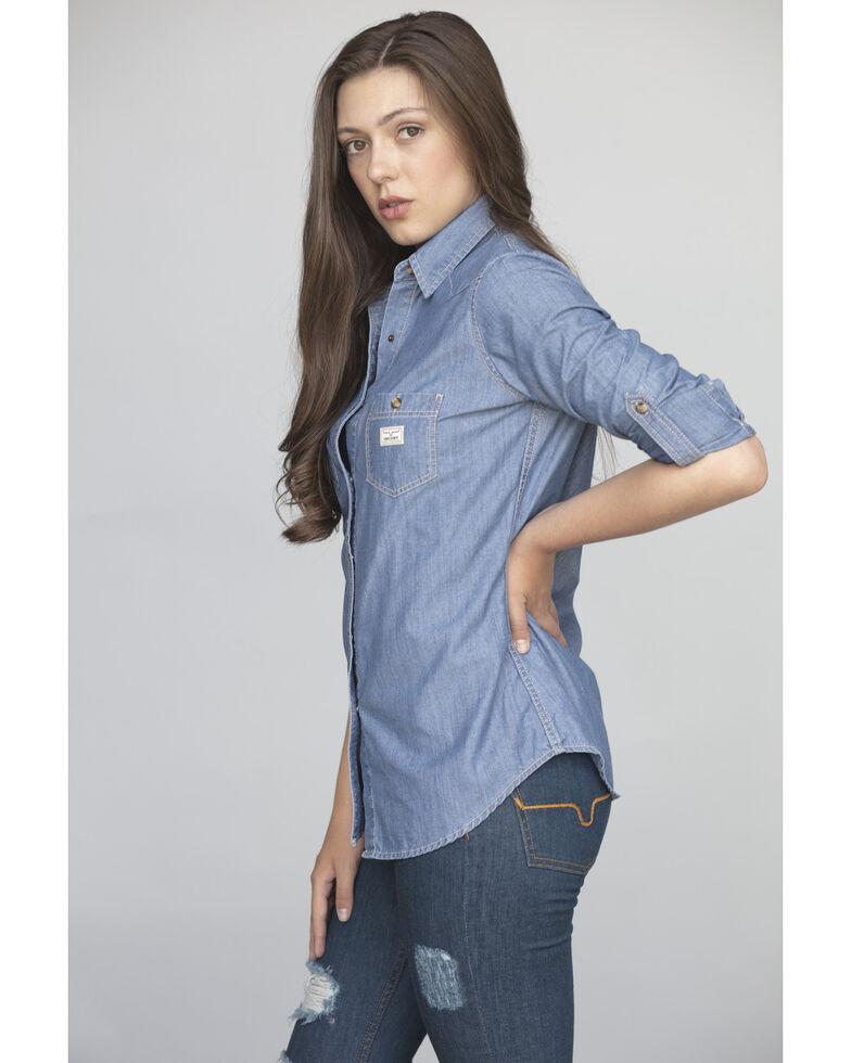 Kimes Ranch Women's Candy Chambray Long Sleeve Western Shirt , Indigo, hi-res
