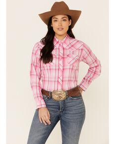 Ely Walker Women's Pink Plaid Long Sleeve Western Core Shirt , Pink, hi-res