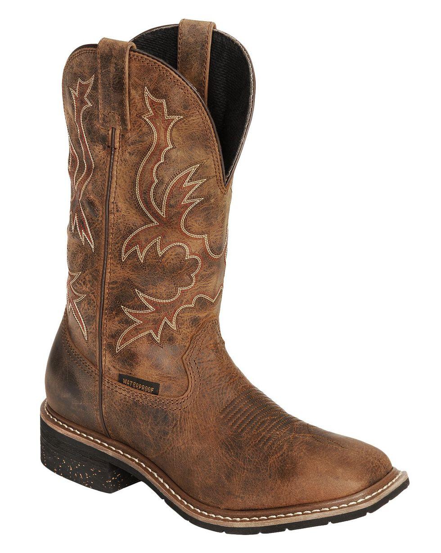 Dan Post Nogales Distressed Waterproof Work Boots - Wide Square Toe, Tan, hi-res