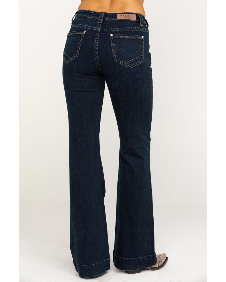 Rock & Roll Cowgirl Women's Dark Wash High Rise Trouser , Blue, hi-res