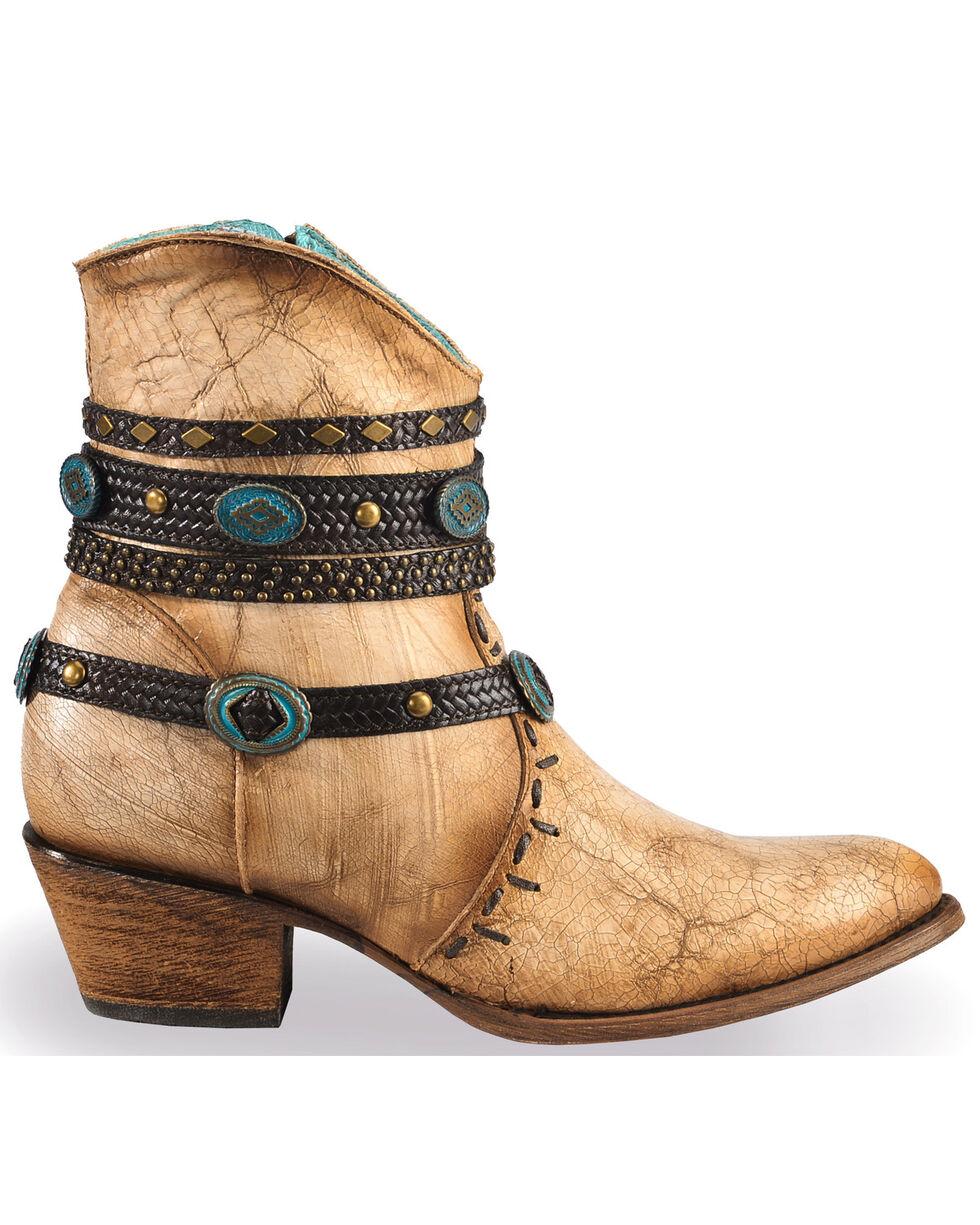 Corral Women's Ivory Bone Zipper and Studded Harness Boots - Round Toe, Beige/khaki, hi-res
