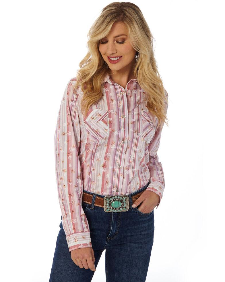 Wrangler Women's Floral Stripe Snap Long Sleeve Western Shirt , Blush, hi-res