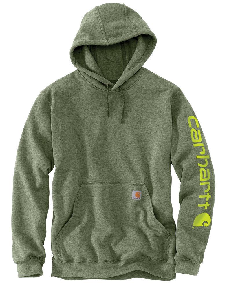 Carhartt Men's Mid Weight Hooded Logo Work Sweatshirt - Tall , Olive, hi-res