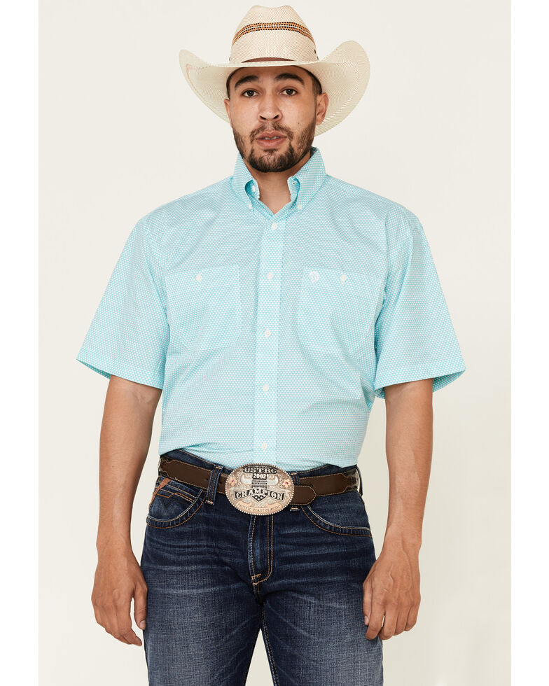 George Strait By Wrangler Men's White Small Geo Print Short Sleeve Button-Down Western Shirt - Tall, White, hi-res