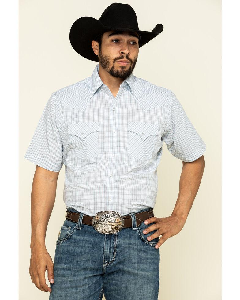 Ely Cattleman Men's Multi Mini Check Plaid Short Sleeve Western Shirt - Tall, White, hi-res