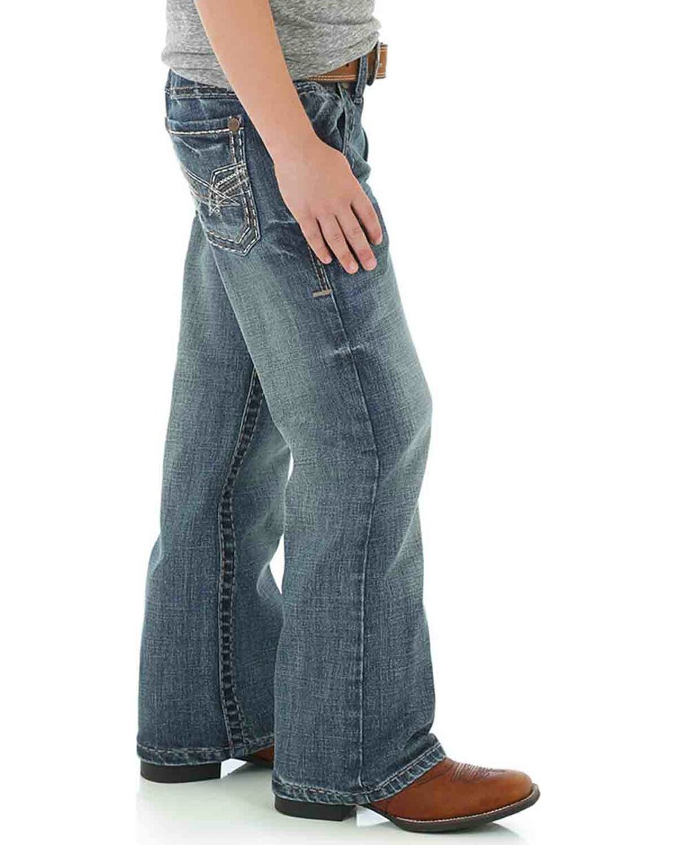 Wrangler Rock 47 Boys' Blue Slim Fit Comfort Stretch Jeans - Boot Cut , Blue, hi-res