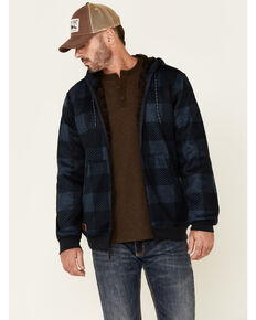 Moonshine Spirit Men's Day Break Buffalo Check Zip-Front Sherpa Hooded Sweatshirt , Navy, hi-res