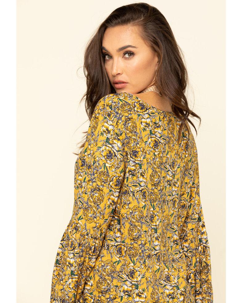Rock & Roll Denim Women's Yellow Floral Bell Sleeve Top, Mustard, hi-res