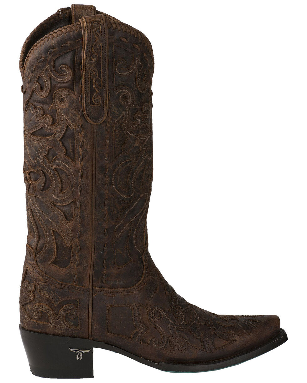 Lane Women's Robin Cognac Whipstitch Inlay Cowgirl Boots - Snip Toe, Cognac, hi-res