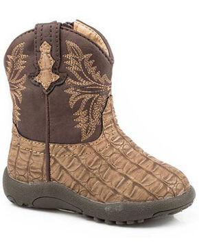 Roper Infant Boys' Chomp Western Boots - Round Toe, Tan, hi-res