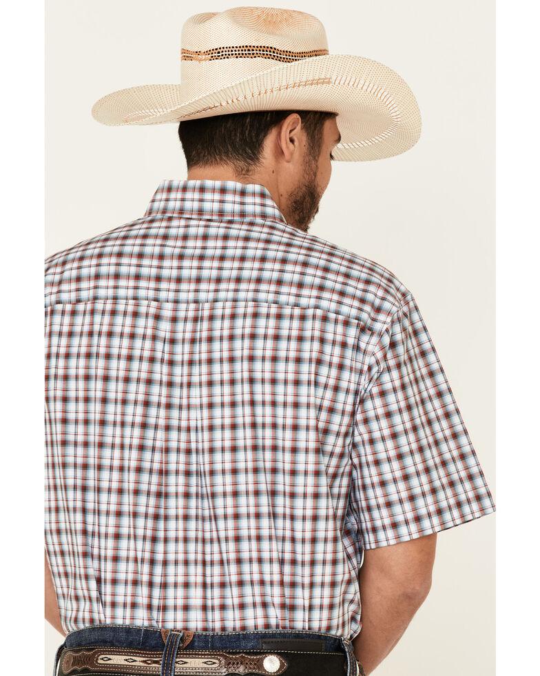 Cinch Men's Blue Med Plaid Short Sleeve Western Shirt , Blue, hi-res