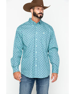 Cinch Men's Teal Geo Print Button Long Sleeve Western Shirt , Teal, hi-res