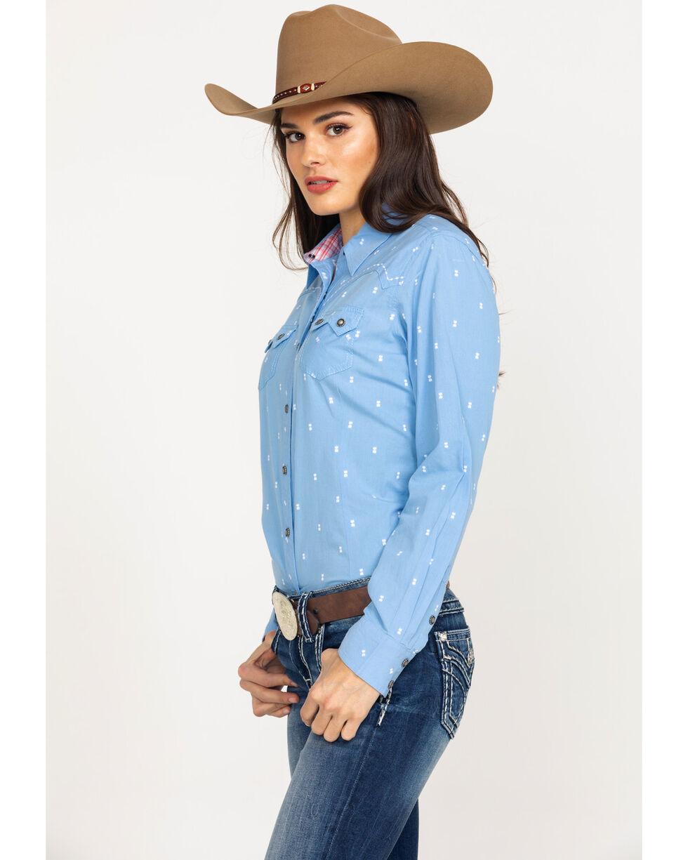 Ariat Women's REAL Lucky Print Snap Long Sleeve Western Shirt - Plus , Light Blue, hi-res