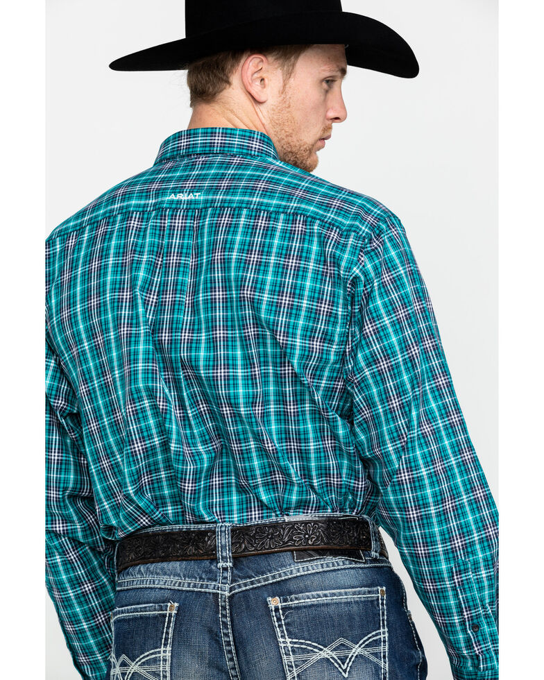 Ariat Men's Rooks Med Plaid Long Sleeve Western Shirt - Tall , Turquoise, hi-res