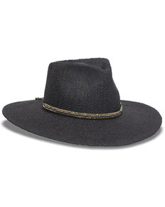 Nikki Beach Women's Monte Carlo Toyo Straw Rancher Hat , Black, hi-res