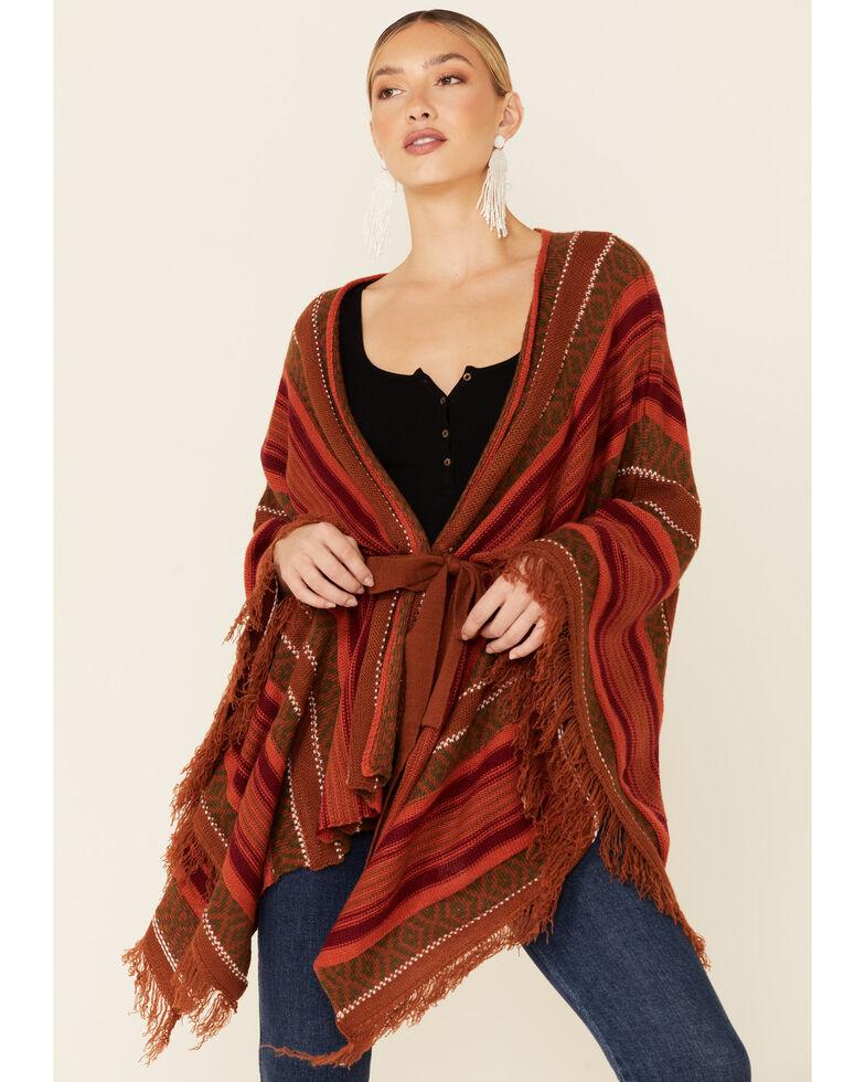 Rock & Roll Denim Women's Marigold Serape Stripe Knit Poncho , Rust Copper, hi-res
