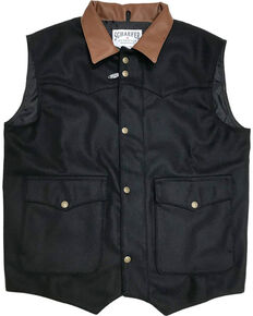 Schaefer Outfitter Men's 713 Wool Cattleman Vest, Black, hi-res